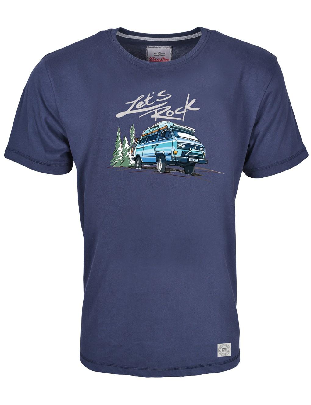 Herren T-Shirt VW Bulli »LETS ROCK« Blau