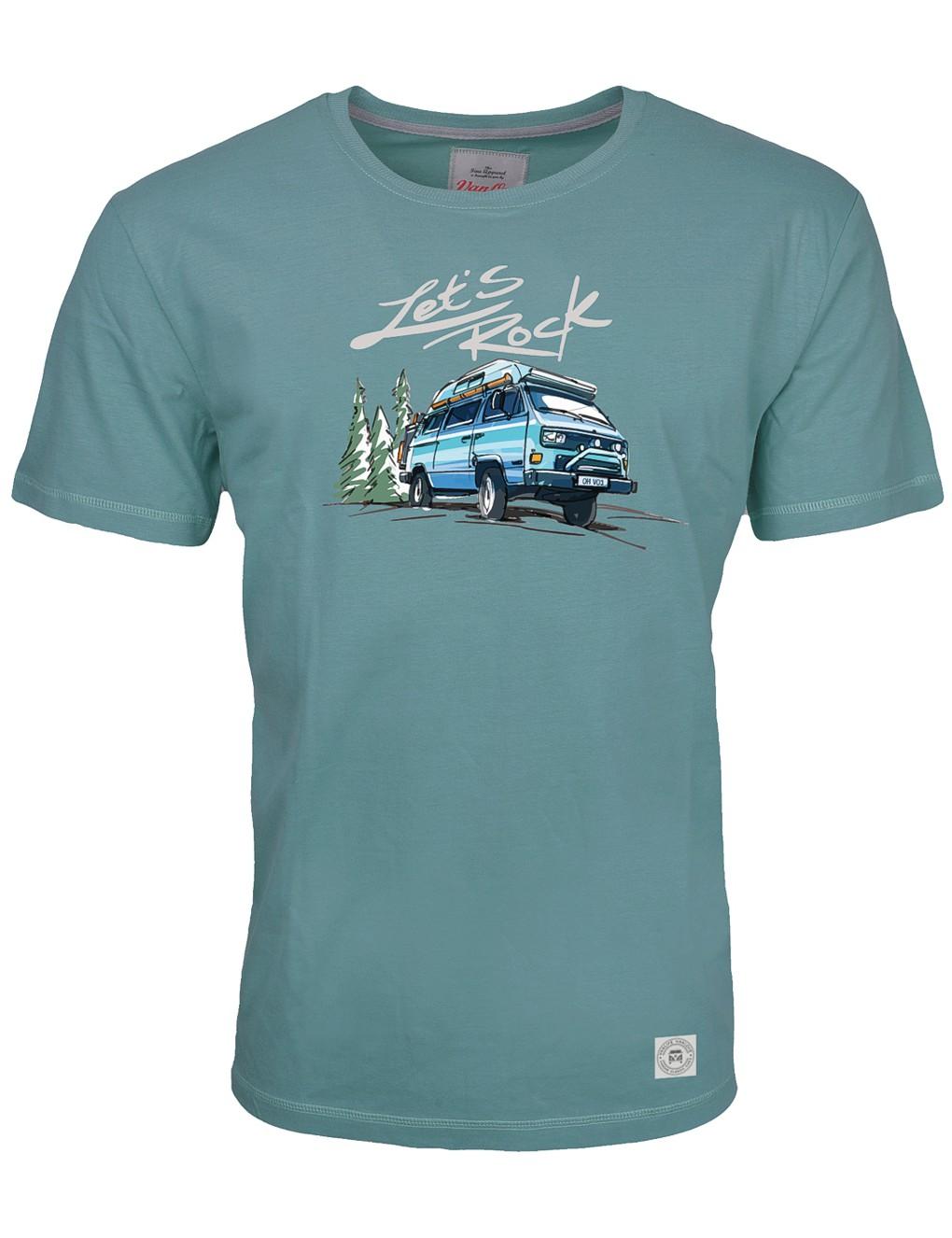 Herren T-Shirt VW Bulli »LETS ROCK« Petrol