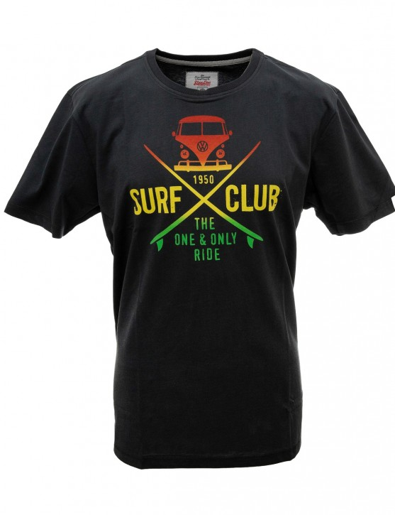 Herren T-Shirt VW Bulli »SURF CLUB« Black Rasta