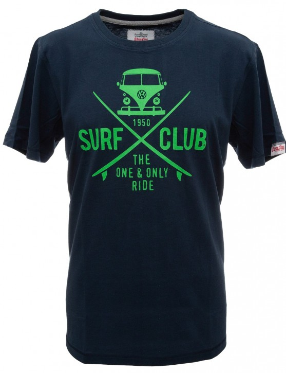 Herren T-Shirt VW Bulli »SURF CLUB« Navy Neon Green
