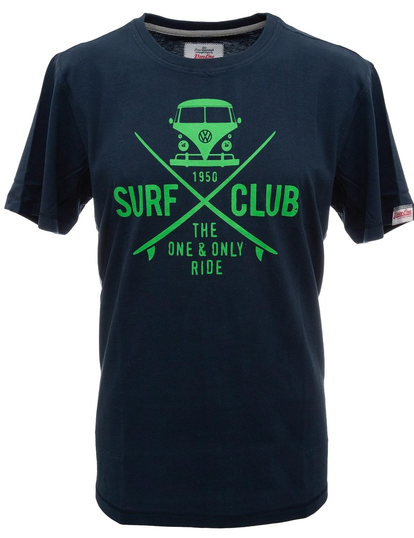 Herren T-Shirt VW Bulli »SURF CLUB« Navy Neon Green