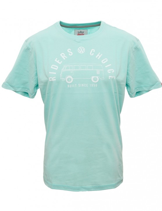 Herren T-Shirt VW Bulli »RIDERS CHOICE« Light Blue White