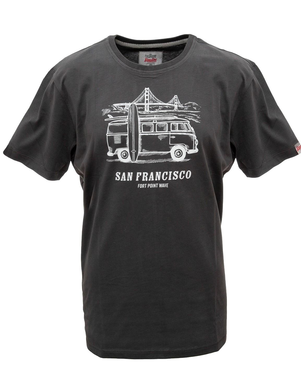 Herren T-Shirt VW Bulli »SAN FRANCISCO« Schwarz Weiß