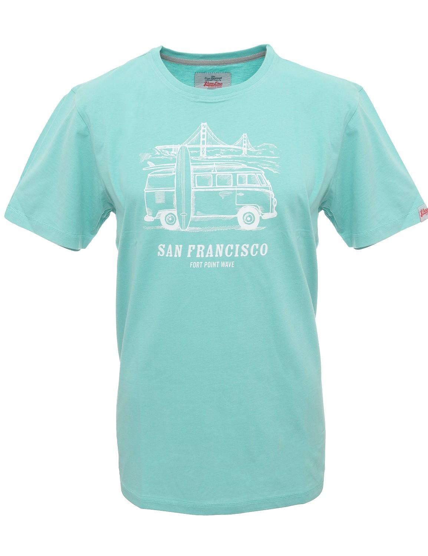 Herren T-Shirt VW Bulli »SAN FRANCISCO« Türkis Weiß