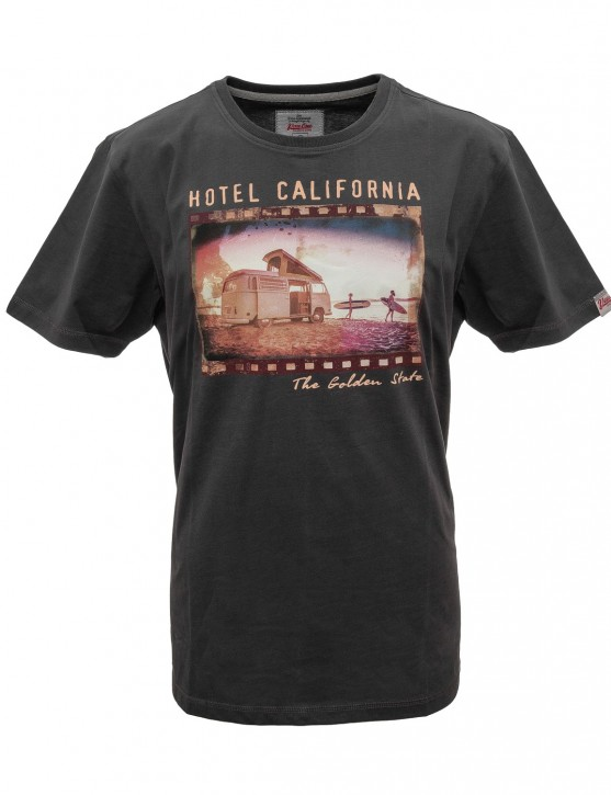 Herren T-Shirt VW Bulli »HOTEL CALIFORNIA« Washed Black