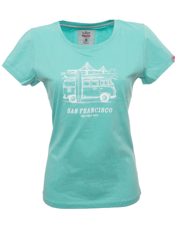 Damen T-Shirt VW Bulli »SAN FRANCISCO« Türkis Weiß