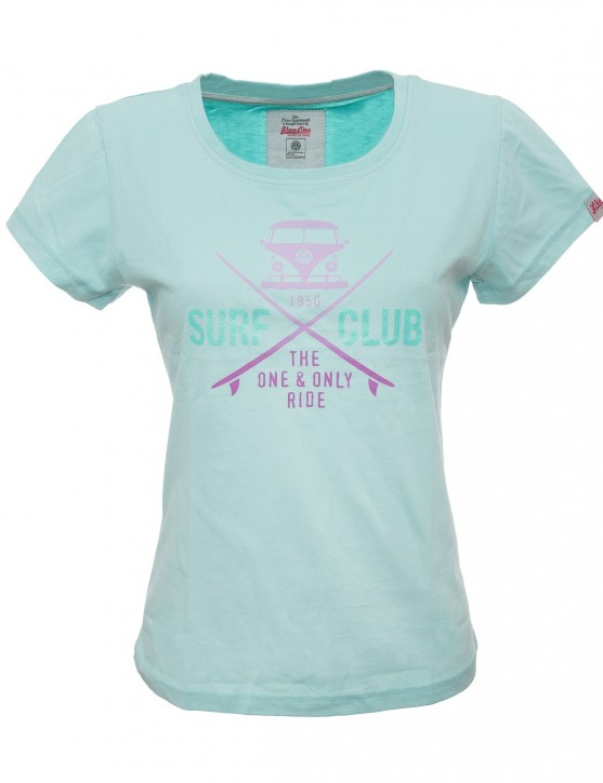 Damen T-Shirt VW Bulli »SURF CLUB« Hellblau Pink