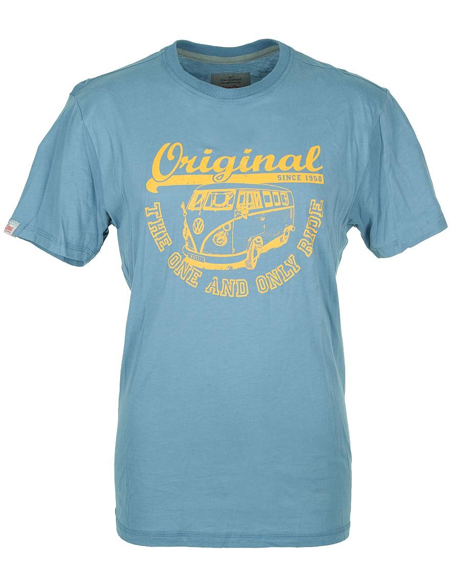 Herren T-Shirt VW Bulli ORIGINAL RIDE Dove Blue / Orange