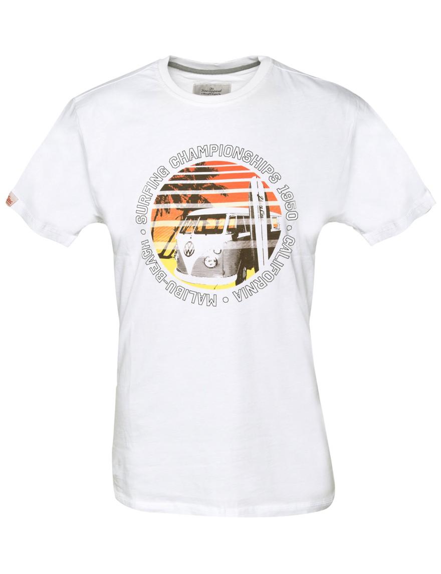 Herren T-Shirt VW Bulli MALIBU BEACH Weiß Gr.XL