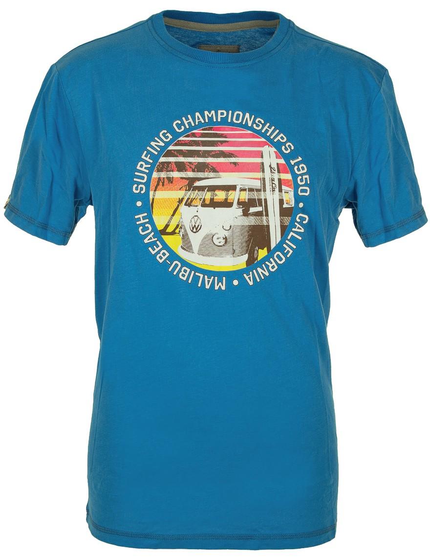 Herren T-Shirt VW Bulli MALIBU BEACH Blau