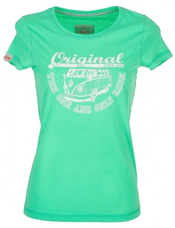 Damen T-Shirt VW Bulli ORIGINAL RIDE Apple Green / White