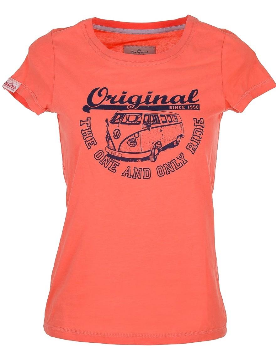 Damen T-Shirt VW Bulli ORIGINAL RIDE Apricot / Blue