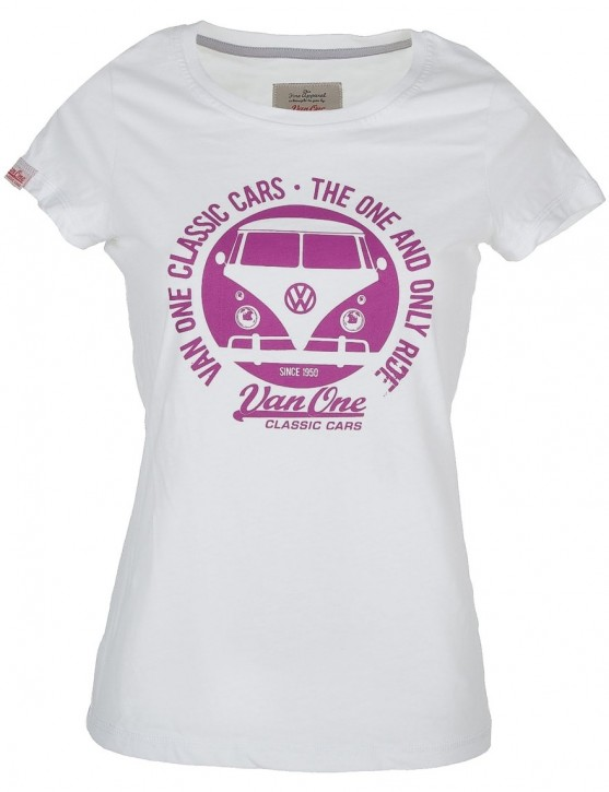 Damen T-Shirt Van One VW Bulli »BULLI FACE« White / Lila