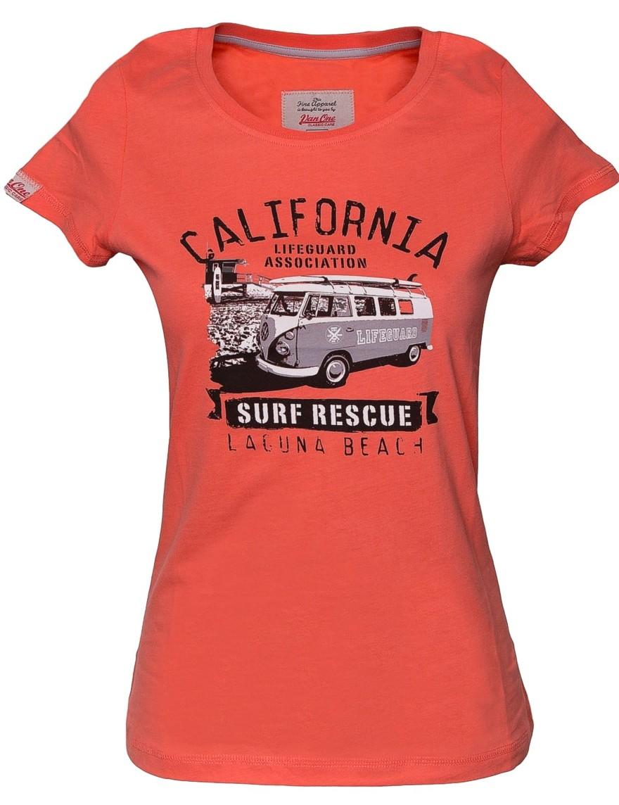 Damen T-Shirt VW Bulli LAGUNA BEACH Apricot / Black