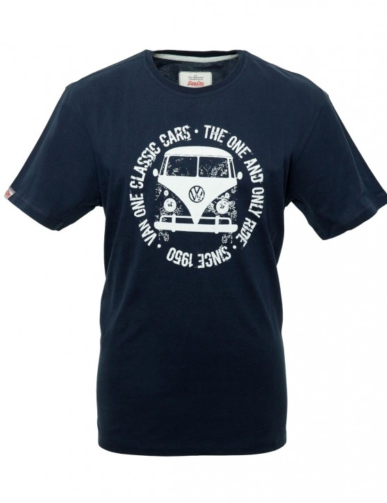 Herren T-Shirt VW Bulli Bulli FACE USED Navy / White