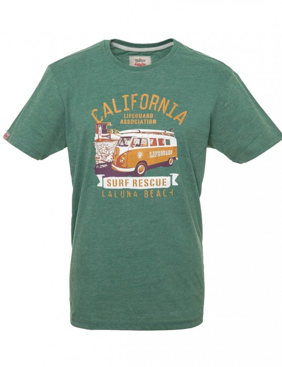 Männer T-Shirt Van One VW BULLI »LAGUNA BEACH« New Green / Orange