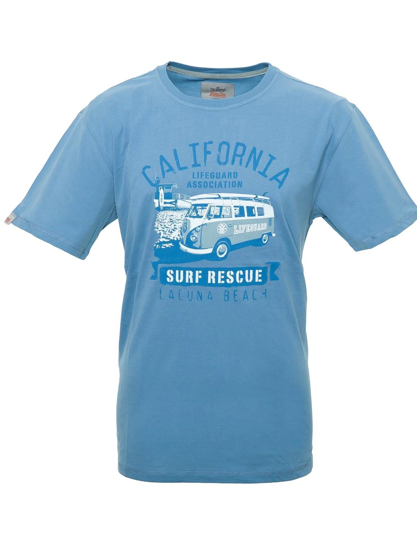Herren T-Shirt VW Bulli LAGUNA BEACH Dove Blue / Blue