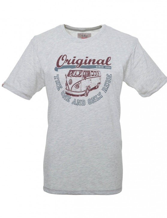 Männer T-Shirt Van One VW Bulli »ORIGINAL RIDE« Light Grey / Bordeaux Grey