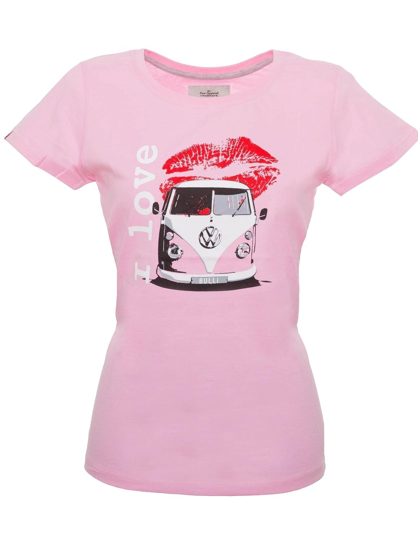 Damen T-Shirt VW Bulli BULLI LOVE Pink / White