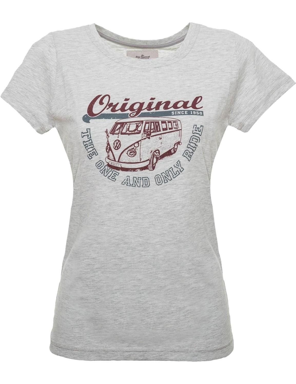 Damen T-Shirt VW Bulli »ORIGINAL RIDE« Light Grey Bordeaux Grey