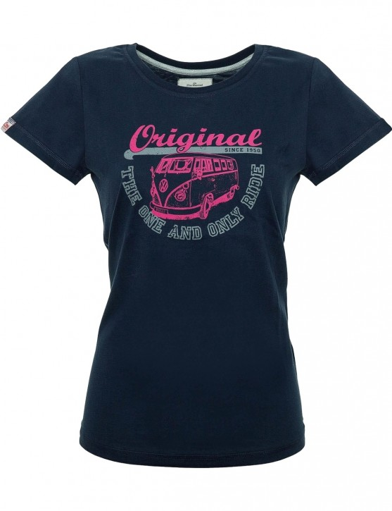 Damen T-Shirt Van One VW Bulli »ORIGINAL RIDE« Navy / Pink Grey