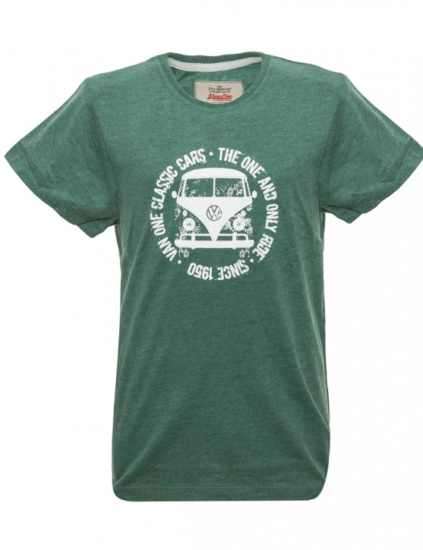 Boys T-Shirt Van One VW Bulli »BULLI FACE USED« New Green / White