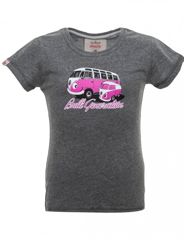 Girls T-Shirt Van One VW Bulli »BULLI GENERATION« Dark Grey / Pink