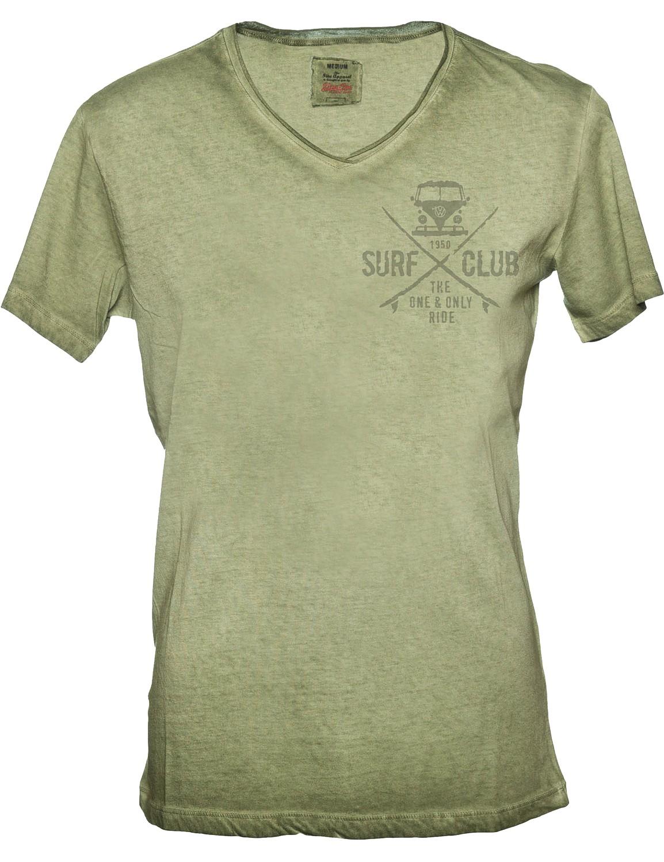 Herren T-Shirt VW Bulli »SURF CLUB« Vintage Oliv