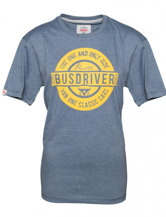 Herren T-Shirt VW Bulli BUSDRIVER  Anthracite Indigo Orange