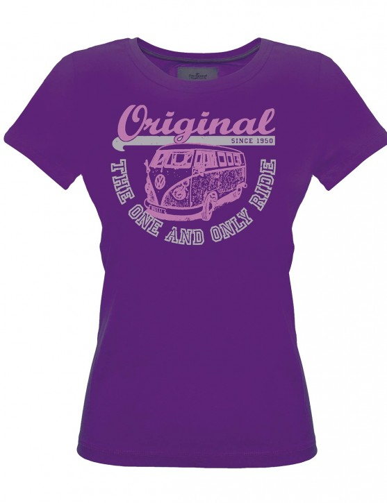 Damen T-Shirt VW Bulli ORIGINAL RIDE Purple Pink White