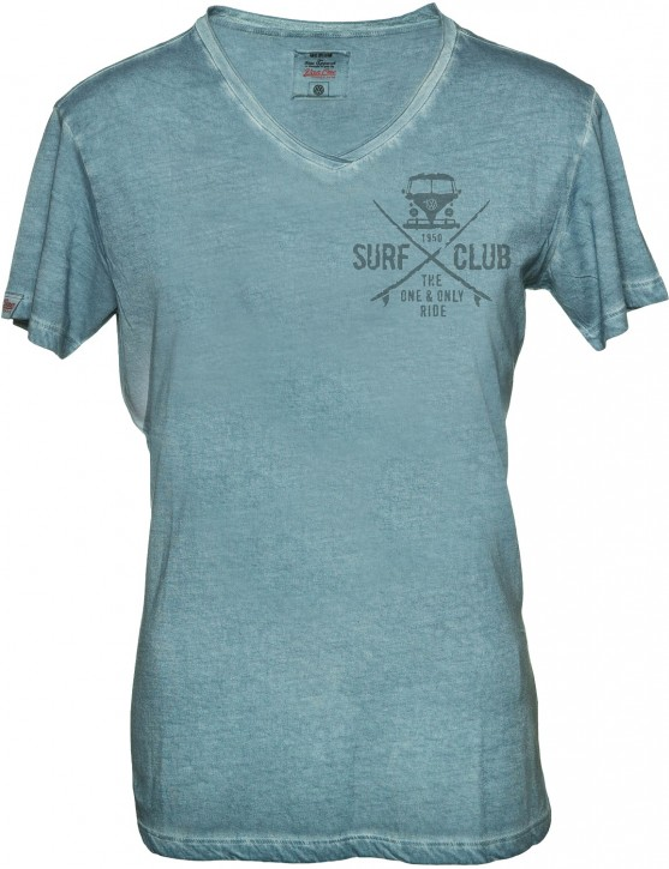 Herren T-Shirt VW Bulli »SURF CLUB« Vintage Indigo Grau