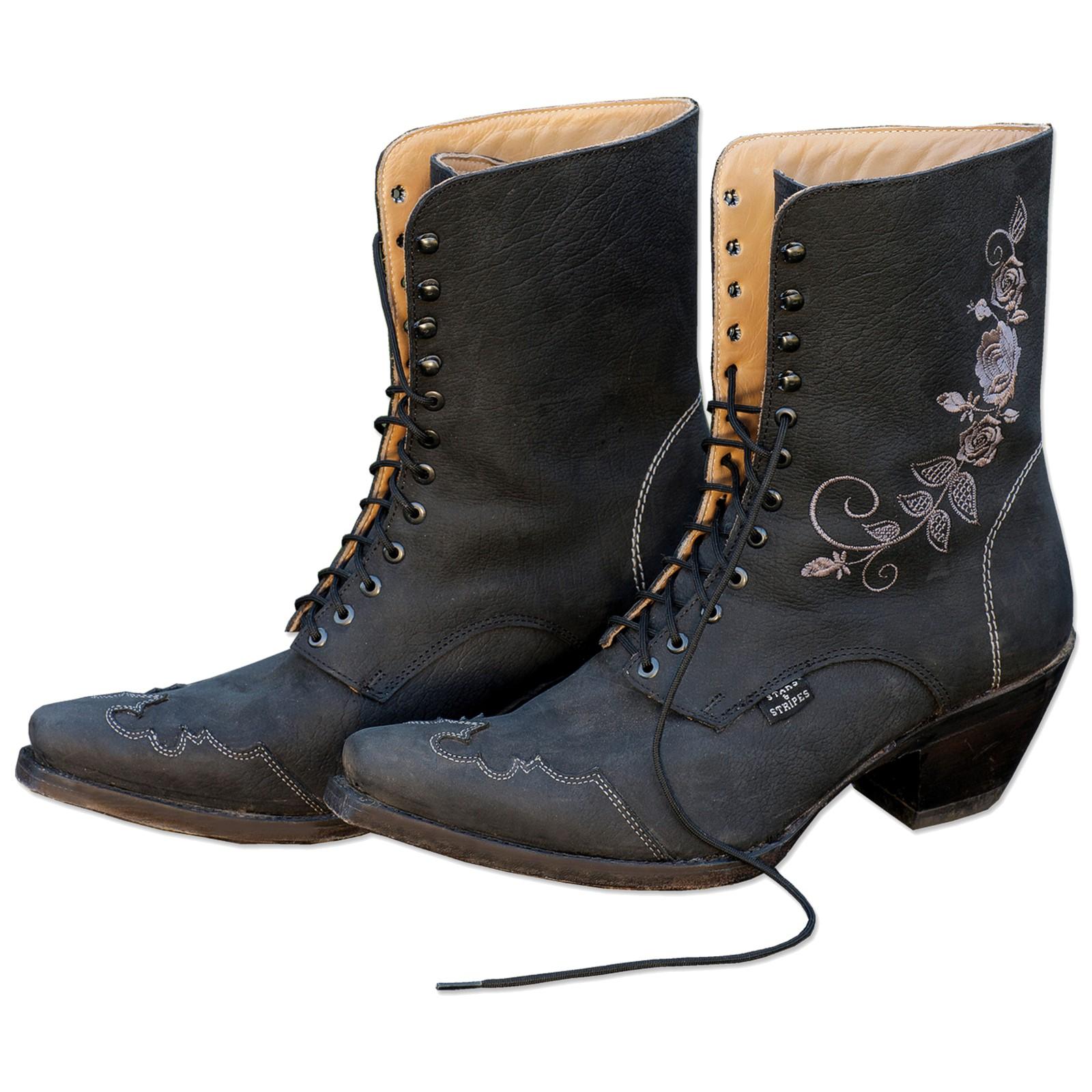 Stripes Starsamp; Western Stiefel Schwarz Damen 41 Boots Gr »rosi« Nw8m0n