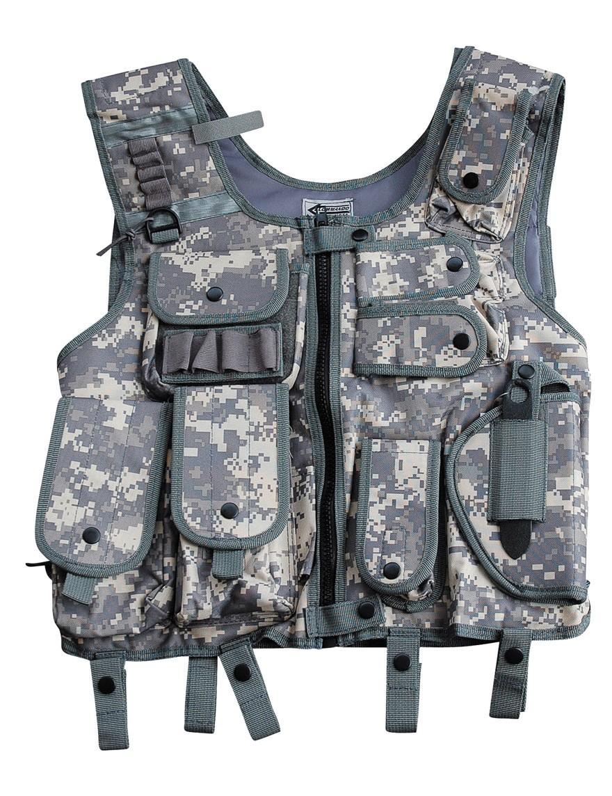 SWAT I Einsatz Weste m. Holster Security Paintball Camo ACU-Tarn Gr.M