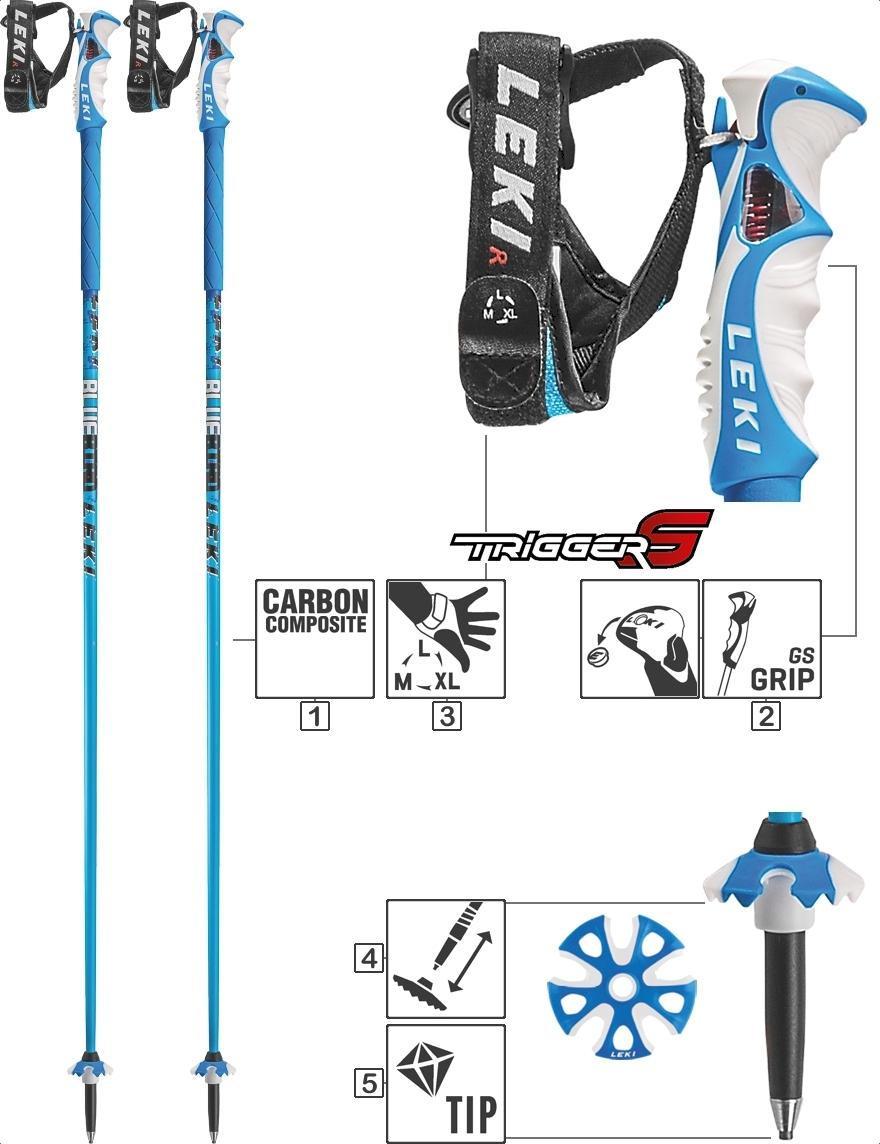 LEKI Skistöcke »Blue Bird Carbon« Trigger S Blau Weiß Schwarz