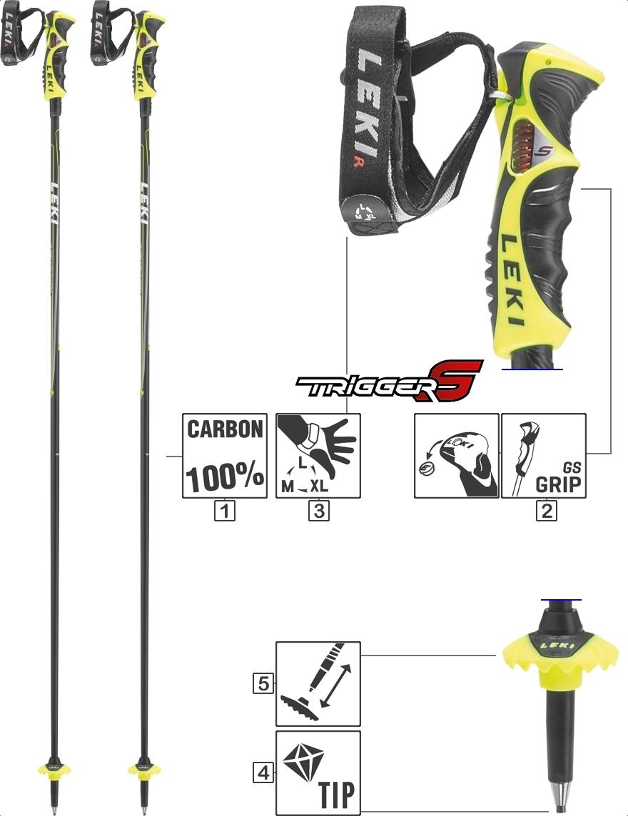 LEKI Skistöcke »Carbon 14 S« Trigger S Anthrazit Weiß Neongelb