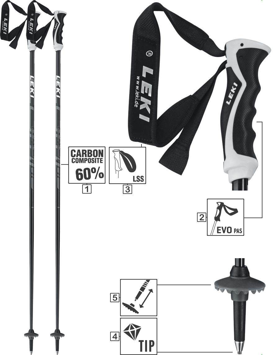 LEKI Skistöcke »Comp 16C« Schwarz Anthrazit Weiß Neongelb