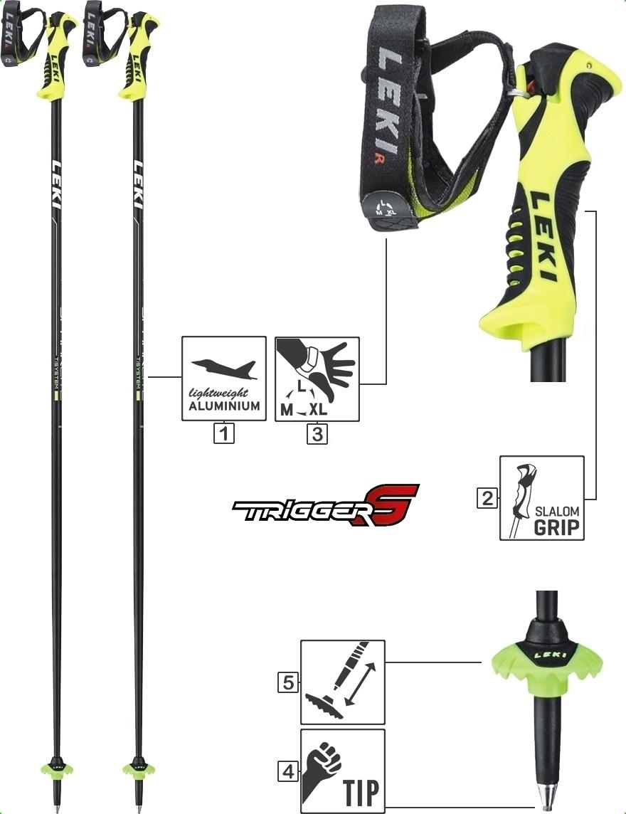 LEKI Skistöcke »Spark Lite S« Schwarz Anthrazit Weiß Neongelb
