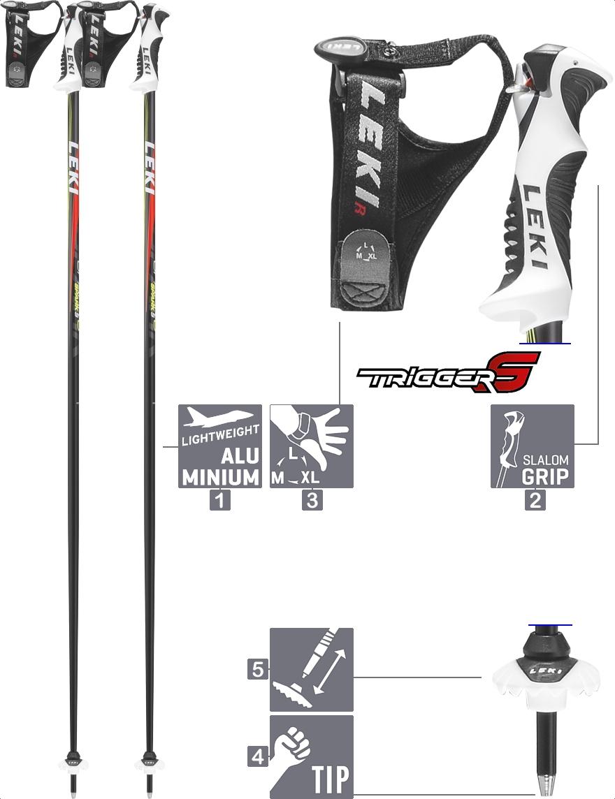 LEKI Skistöcke »Spark S« Trigger S Anthrazit Weiß Rot Neongelb