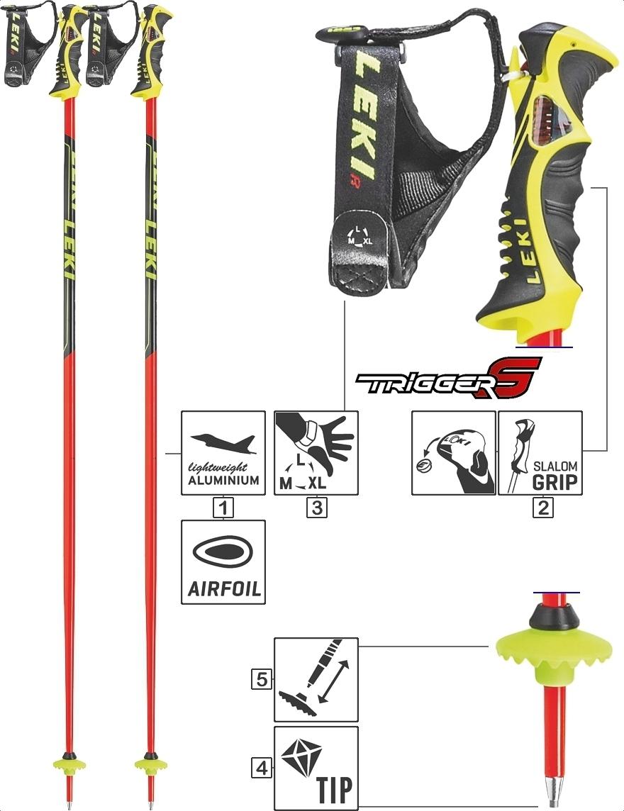 LEKI Skistöcke »Worldcup Racing SL TBS« Trigger S ALU Neonrot