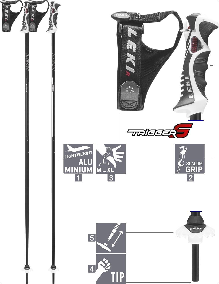 LEKI Skistöcke »Xeos S« Trigger S ALU Schwarz Weiß Silber