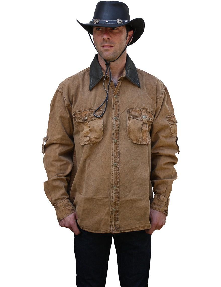 Scippis »Leeton« Canvas Shirt im Hemden-Style Tobacco