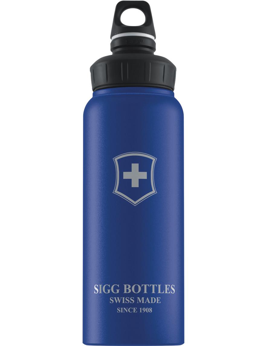 SIGG Trinkflasche 1.0 l Wide Mouth Swiß Emblem Blau Touch