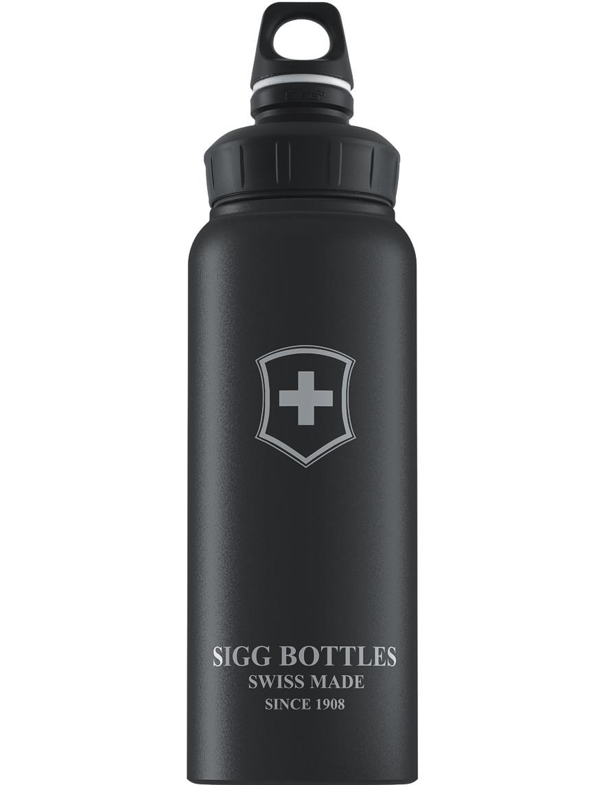 SIGG Trinkflasche 1.0 l Wide Mouth Swiß Emblem Schwarz Touch