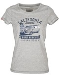 Männer T-Shirt Van One VW Bulli »LAGUNA BEACH« Light Grey / Blue Gr.S