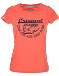 Damen T-Shirt Van One VW Bulli »ORIGINAL RIDE« Apricot / Blue