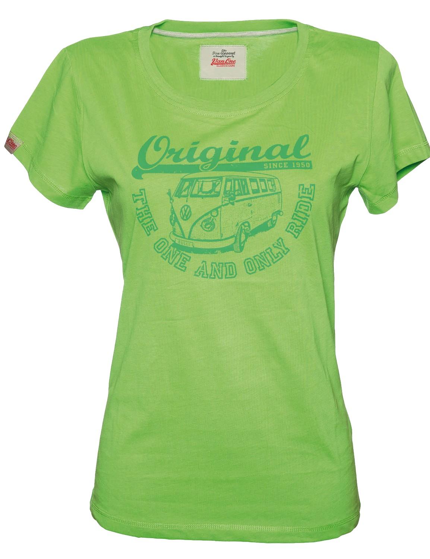Damen T-Shirt VW Bulli ORIGINAL RIDE Green Green